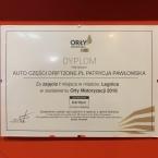 Na zdjęciu dyplom przyznany dla Auto Części DriftZone.pl za zajęcie pierwszego miejsca w mieście Legnica w zestawieniu Orły Motoryzacji 2018