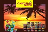 Zawieszki zapachowe oraz puszeczki z zapachami na tle zachodzącego słońca wśrod palm. Na górze logo firmy CALIFORNA scents.